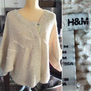 H & M Cream Gold Metallic Boho Hand knit Sweater